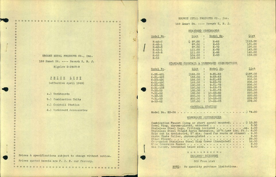1949 - Krowne's first official Price List. Only 2 pages, including the cover, Krowne was just starting to build its product line.